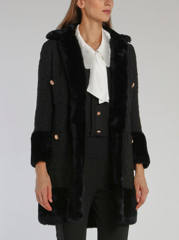 Black Fur Trim Tweed Coat