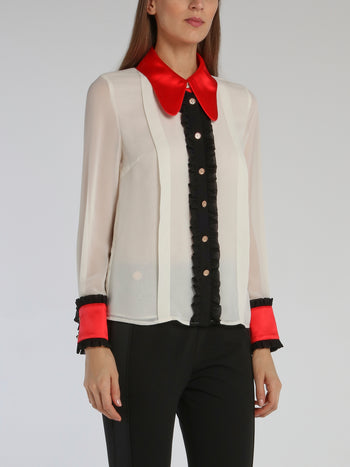 Colour Block Long Sleeve Victorian Blouse