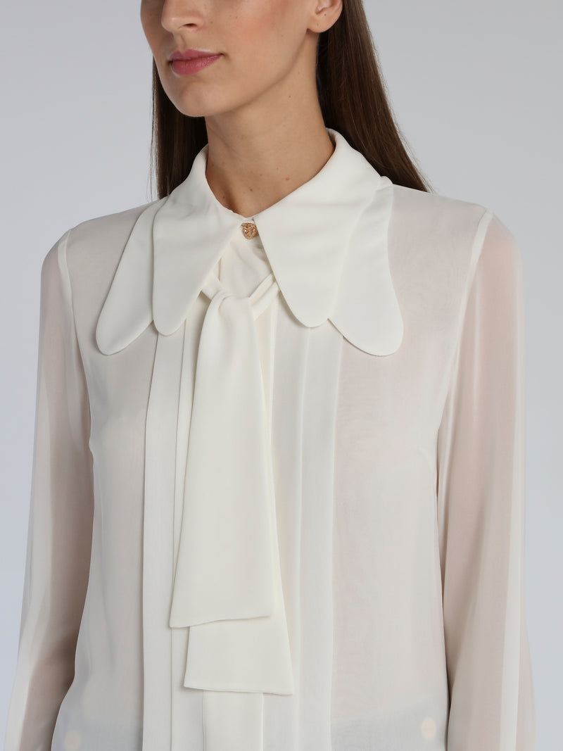 White Multi-Collar Pleated Blouse