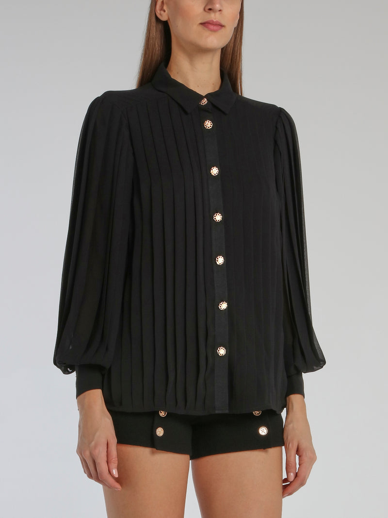 Black Button Up Accordion Blouse