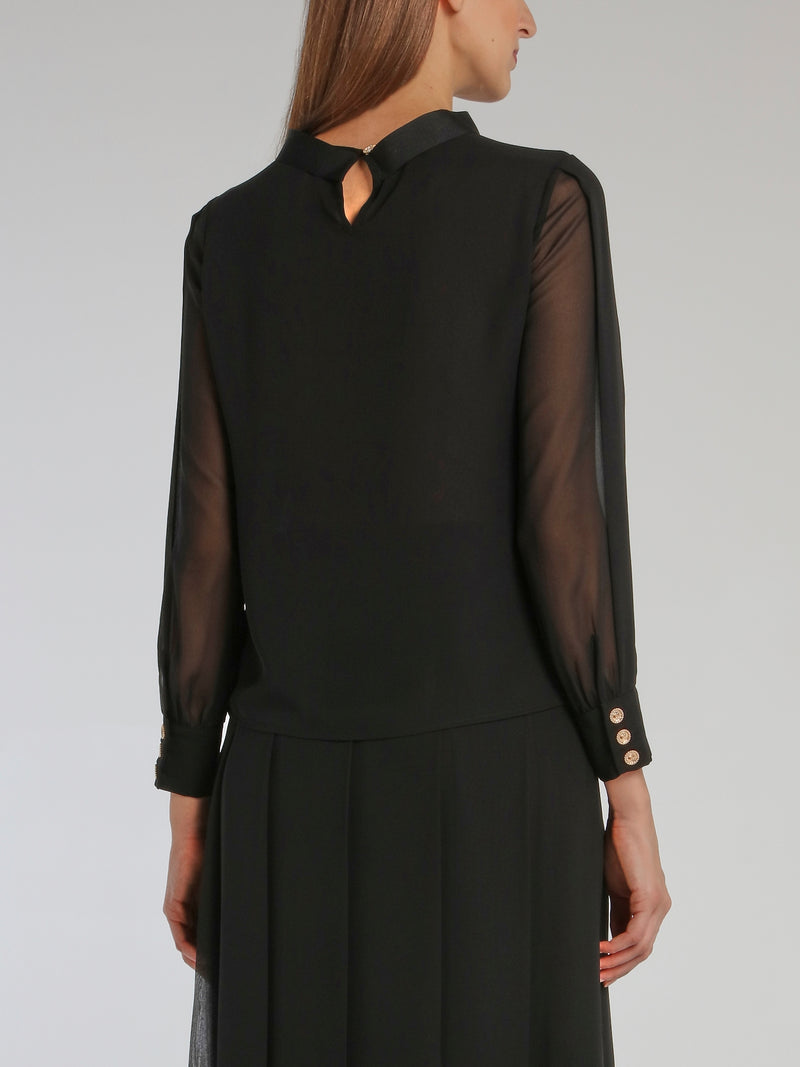 Black Ribbon Detail Mesh Sleeve Top