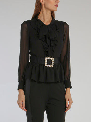 Black Belted Ruffle Top