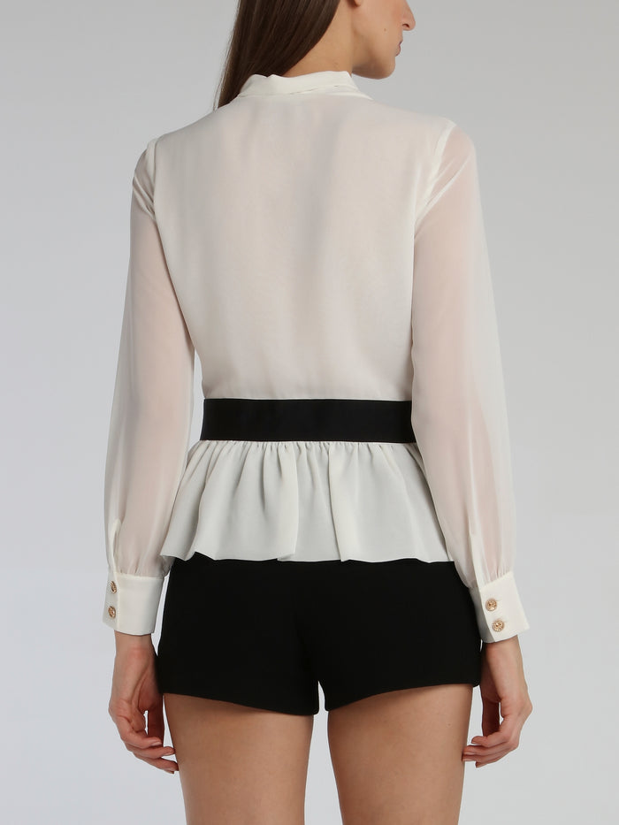White Belted Ruffle Top