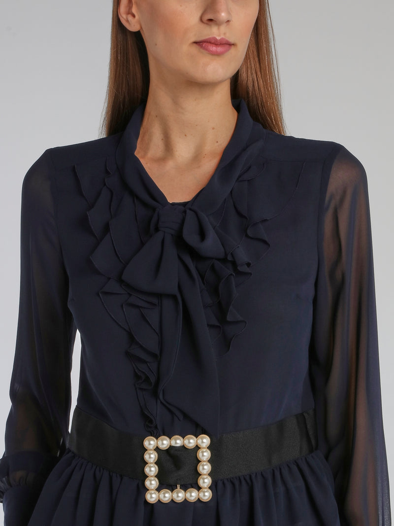 Navy Belted Ruffle Top