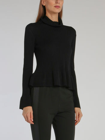 Black Cowl Neck Peplum Sweater Top