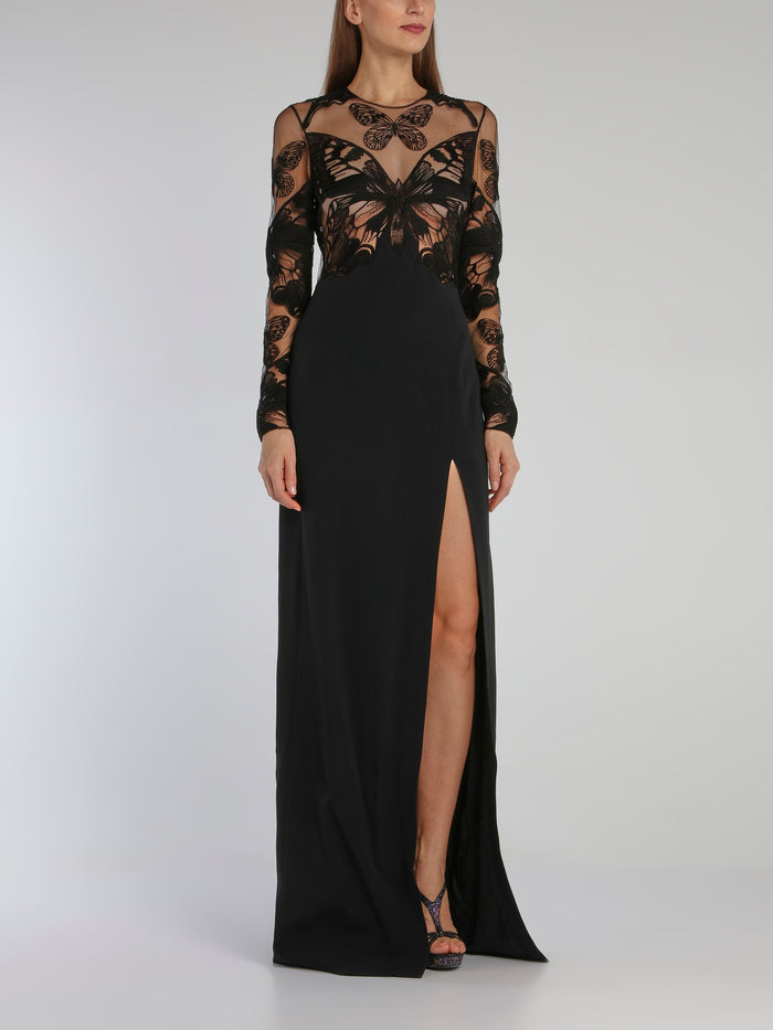 Black Butterfly Macrame Bodice Long Sleeve Gown