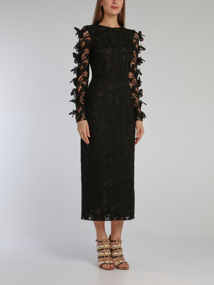 Black Butterfly Macrame Pencil Midi Dress
