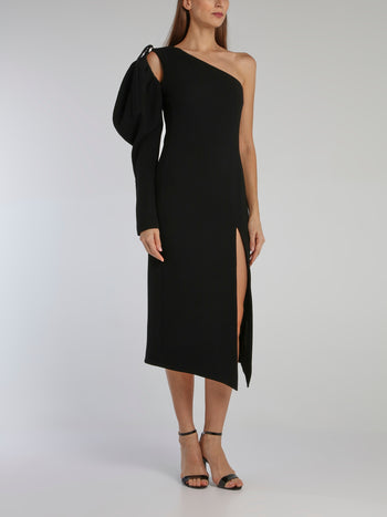 Black Puff Sleeve Wool Crepe Midi Dress
