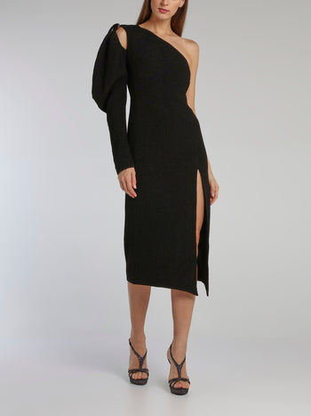 Black Puff Sleeve Cloque Midi Dress