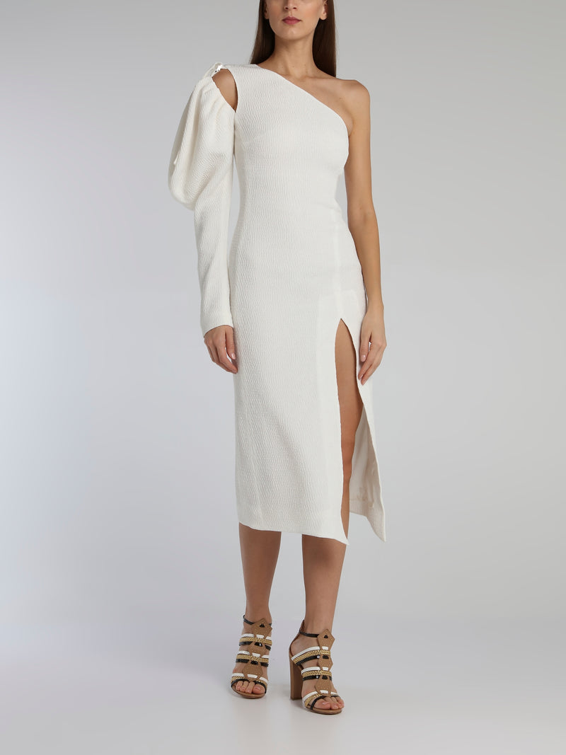White Puff Sleeve Cloque Midi Dress