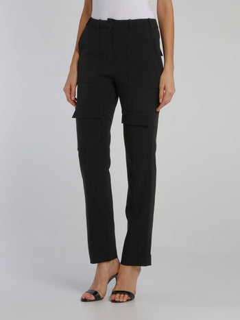 Black Patched Hip Cargo Trousers