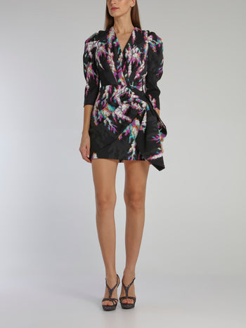 Printed Leg Of Mutton Sleeve Pleated Dress