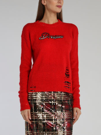 Red Distressed Embellished Sweater