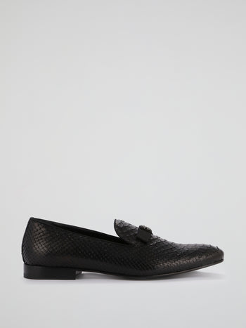 Black Reptilian Textured Loafers