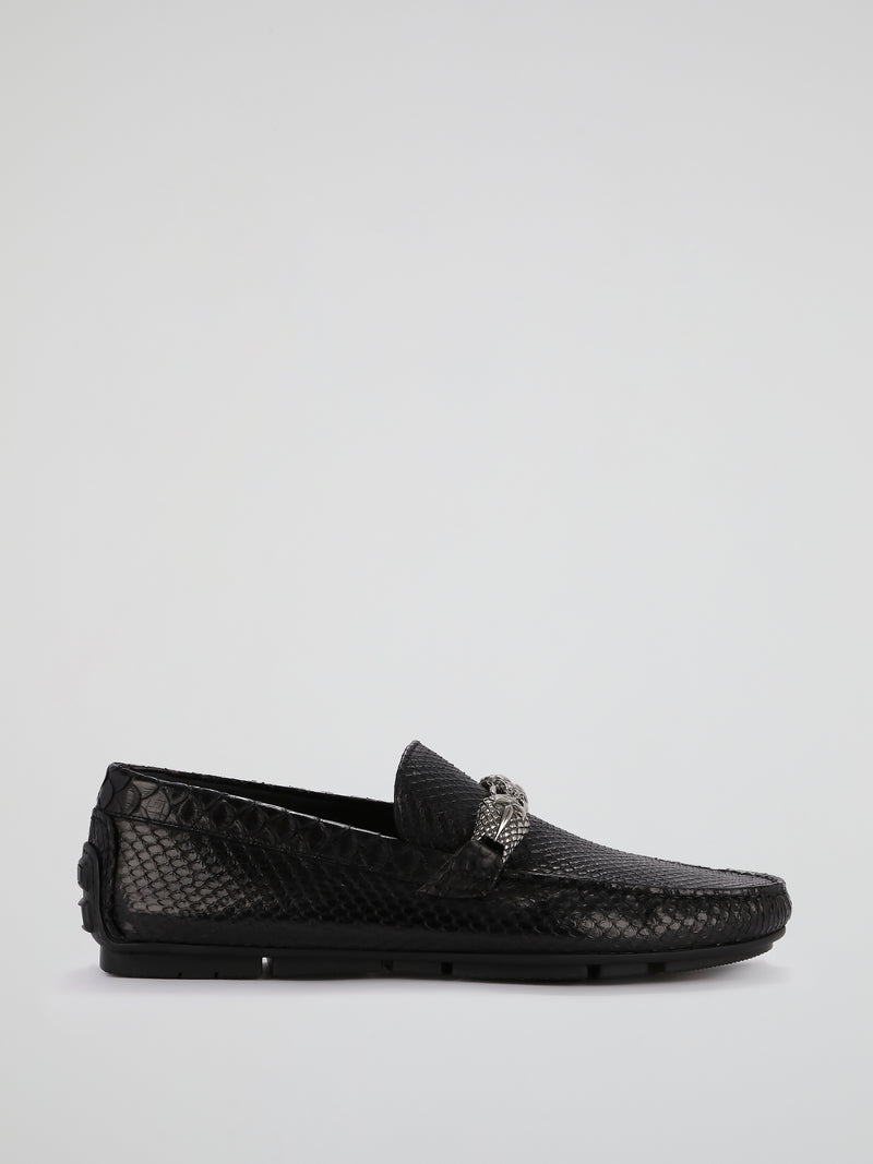 Black Reptilian Buckle Loafers