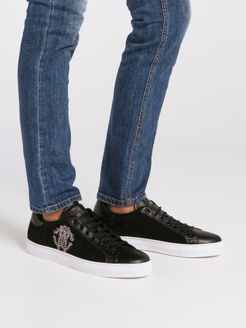 Black Studded Monogram Sneakers