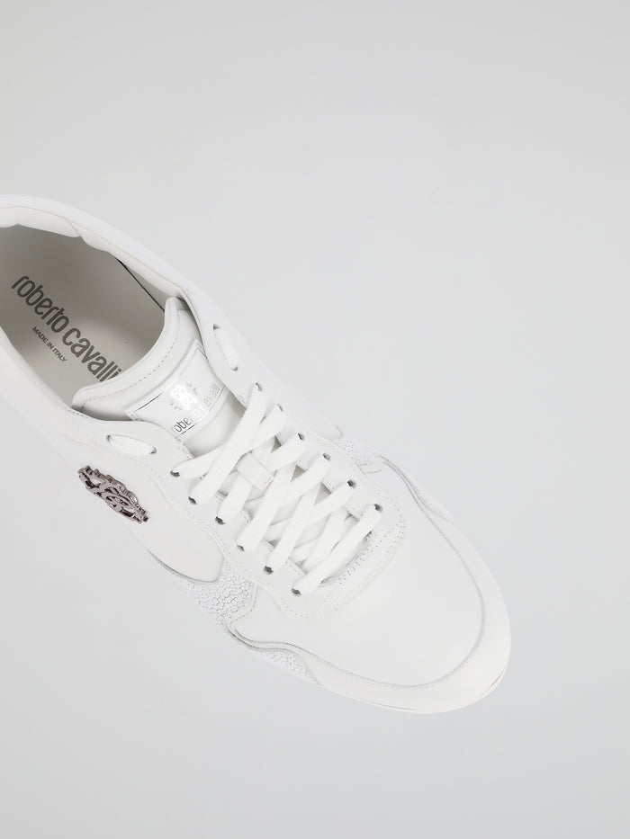 White Textured Panel Leather Sneakers