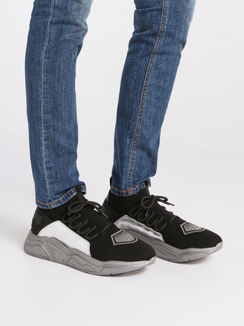 Black Mesh Panel Contrast Sneakers