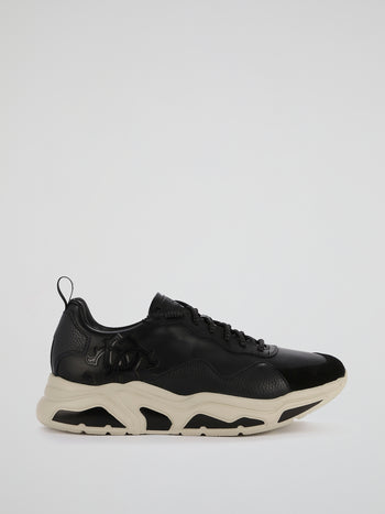 Black Contrast Sole Leather Sneakers