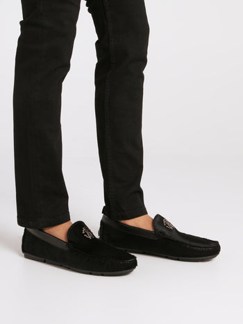 Black Goat Hair Loafers