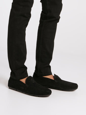 Black Monogram Velvet Loafers