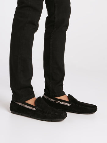 Black Snake Panel Velvet Loafers