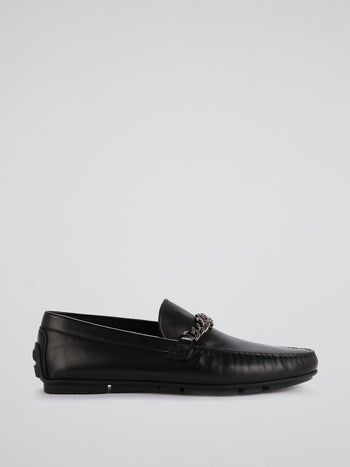 Black Chain Monogram Leather Loafers