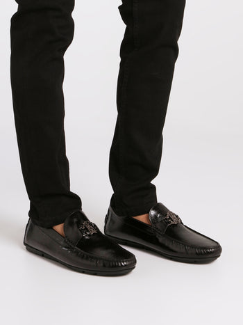 Black Patent Leather Monogram Loafers