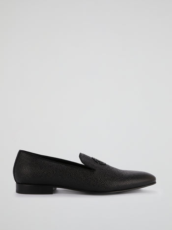 Black Cloqué Leather Loafers