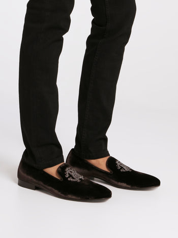 Brown Studded Monogram Velvet Loafers