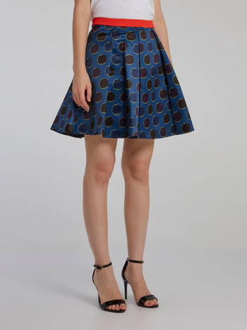 Polka Dot Box Pleated Mini Skirt