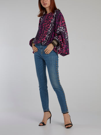 Leopard Print Butterfly Sleeve Top