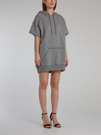 Grey Embellished Hoodie Dress