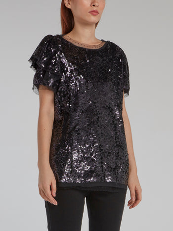 Black Tulle Trim Sequin Top