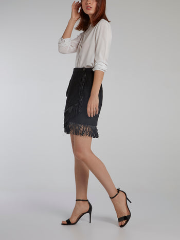 Black Fringe Detail Mini Skirt