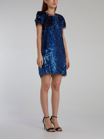 Blue Tulle Trim Sequin Dress
