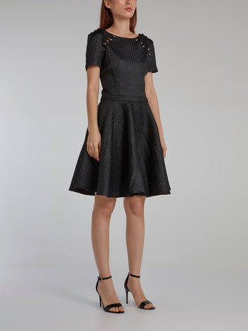 Black Cloqué Circle Dress
