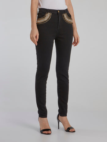 Black Embellished Pocket Skinny Jeans