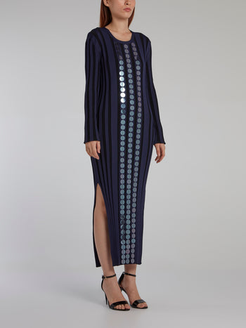 Navy Stripe Paillette Maxi Dress