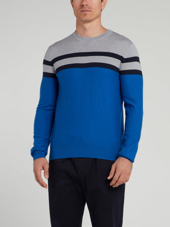 Blue Striped Knitted Sweater