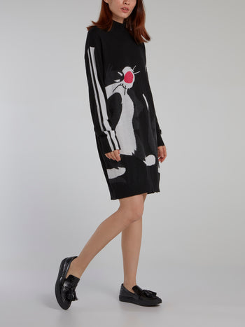 Sylvester The Cat Black Sweater Dress