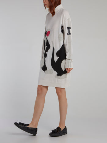 Sylvester The Cat White Sweater Dress