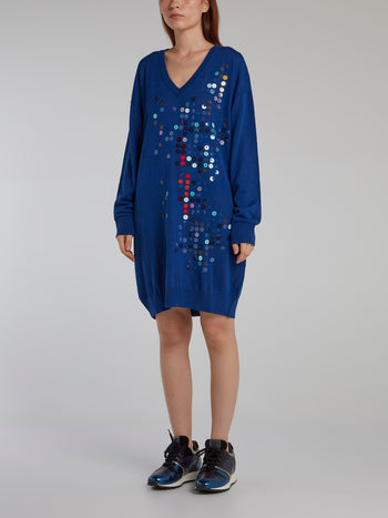 Blue Paillette Sweater Dress