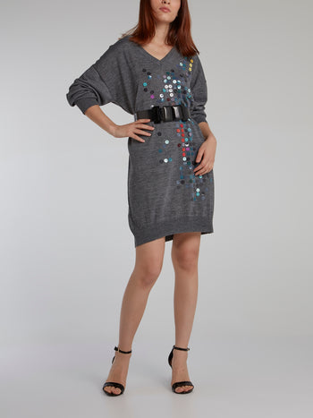Grey Paillette Sweater Dress
