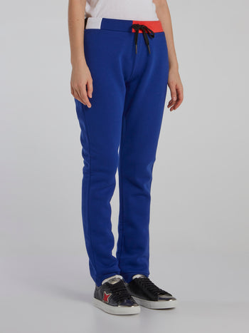 Blue Colour Block Waist Drawstring Pants