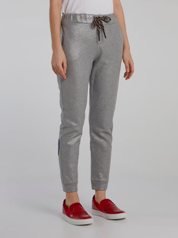 Metallic Patched Track Pants