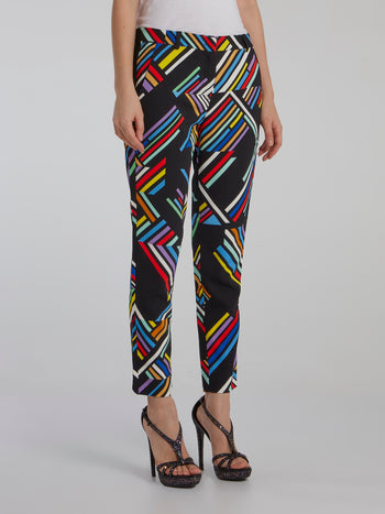 Colour Block Print Trousers