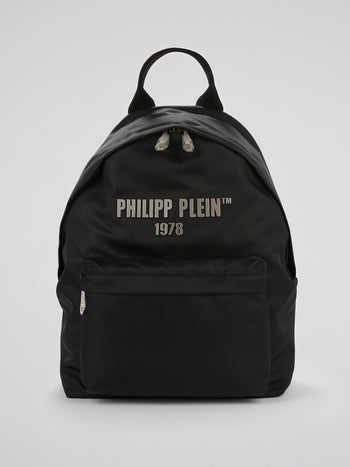 PP1978 Black Logo Strap Backpack