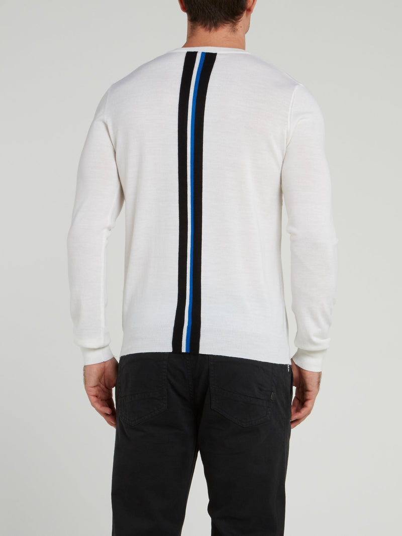 White Rear Stripe Sweater