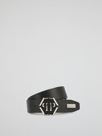 Black Metallic Monogram Leather Belt
